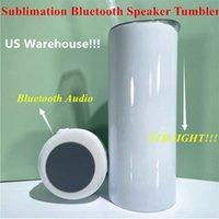 Yerel Depo! 20 oz Süblimasyon Bluetooth Hoparlör Tumbler Süblimasyon Akıllı Su Şişesi Kablosuz Akıllı Müzik Bardak ABD Yurtdışı Kargo