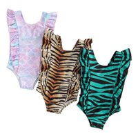 Clothing Sets Kids Baby Girls Leopard Fish Scale One-piece Swimsuit Fashion Sleeve Swimwear For Children