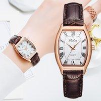 Casual Women's Watches Bracelet Leather Strap Oval Quartz Ladies Watch Women Clock Wrist Watch Relogio Feminino Brown Clock