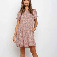 Casual Dresses O Neck Boho Flower Print Dress Women Short Sleeve Mini Sundress Elegant Summer Ladies Clothing