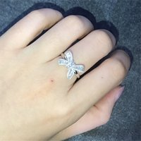 جديد القوس سلم الماس الدائري 925 فضة مطلي ر الأميرة قطع الأبيض توباز تشيكوسلوفاكيا فراشة خاتم الزفاف هدية للنساء 508 Z2
