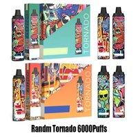 100% Оригинал Randm Tornado 6000 Puffs E-Cigarette Одноразовые ручки Vape Peen POD 12ML CATHITIOL 850 мАч Зарядка аккумулятора Тип-C Порте Air-Advent