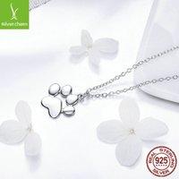 Bamoer Hot prata cor ouro cute animal pegadas pegadas pegadas pata colares pingentes mulheres prata jóias 1800 v2