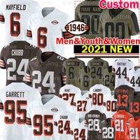"24 Nick Chubb Jersey Myles Garrett Baker Mayfield Kareem Hunt Football Odell Beckham JR Cleveland ""Browns"" Jarvis Landry Jeremiah Owusu-Koramoah denzel Abteilung"