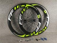 Logotipo verde F6R 700C 3K lustroso 60mm ffwd carbono estrada rodas de bicicleta dianteira rodas traseiras com largura de 23mm Black Novatec A291 Hubs 11 Velocidade