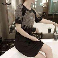 SexMKL Sequin Summer Dress Women Fashion Casual Loose Diamond Black es Short Sleeve Elegant Mini Plus Size XXXL 210610
