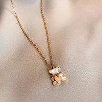 Pendentif Colliers Nacklace Pour Femmes Ours Coquille Coquille Coeur Metal Cœur Mignon Kids aime Firl Cadeau d'anniversaire Bijoux de mode en gros