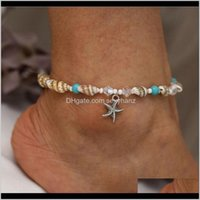 Vintage Turquoise Beaded Starfish Charm Pendant Anklets Yoga Bracelets Dangle Handmade Beach Seashell Crystal Hand Chain Statement Odl Fp8A2