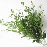 10 шт. Оливковое дерево ветка стебля искусственный зеленый красный лист стебли поддельных зелень растения листва