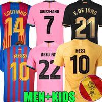 2020 2021 Barca Jersey 21 21 22 Barcelona Copa del Rey Final Dest Fall Football Shirts Messi Ansu Fati Grisezmann de Jong Coutinho Camiseta de Futbol Homens Kit uniforme
