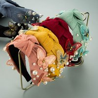 الكورية نمط اكسسوارات للشعر النساء hairbands فراشة عقال اللؤلؤ رئيس هوب الفراشات الدانتيل شبكة أغطية الرأس 6 ألوان