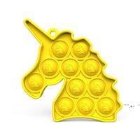 Niedliche Einhorn Stress Ball Keychain Push Bubble Poppers Poo-ITS Erwachsene Brett Spiel Spielzeug Pop It Sensorie Zappel Pads Spielzeug Schlüssel Ringhalter FWE6133