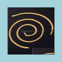 Bracelet, Earrings & Jewelry Trendy Stamp Set Men Wholesale 18K Real Gold Plated Chain Necklace Bracelet African Jewelry Sets S374 Drop Deli