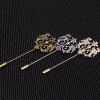 Bronze Gold Silver Tone Classic creux Double lion Double lion Pins pour hommes costume Accessoires Stick Broche Broche Pins Bijoux de mariage 644 T2