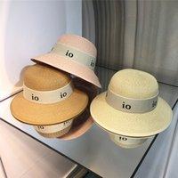 Women Straw Wide Brim Hat Summer Beach Sun Protection Womens Bucket Hats Fashion Gorro Letter Print Casquette