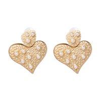 Dangle & Chandelier Fashion Love Heart Simulated Pearl Statement Drop Earrings For Women Wedding Jewelry Pendientes
