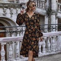 Robes décontractées 2021 Impression Edstidos de Fiesta Fashion Vêtements Pour Femmes Femmes Slim Feuillure Sleeve Robe Femme V-Col Vest Style d'automne Vestidos Longo