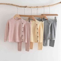 Melario Baby Girls Clothing Sets 2021 Fashion Toddler Boys Knitted Top And Pants Outfits Infant Spring Clothes Suits 210418