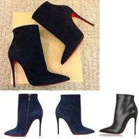 Eleganckie marki damskie krótkie buty czerwone dolne buty damskie zamszowe skórzane botki botki sexy wysokie obcasy szpiczaste palce booty lady party sukienka botki 35-43eu