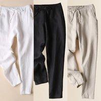 Summer Femmes Spring Fashion Japon Harajuku Style Harajuku Linge de coton de haute qualité Longueur de la cheville Pantalon Femme Casual Slim Fit Pantalons Caprun