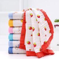 Toallas infantiles Toalla de baño de bebé Algodón puro Textil de alta densidad de alta densidad Cuadrado de 6 capas Gauze de borde ancho con borde de borde de color HWE8089