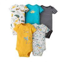 Baby Strampler 5-teilig / los Baby Jumpsuit Baumwolle Boygirls Kleidung Kurzarm Sommer Gestreift Neugeborenen Ropa Bebe Kleidung 0-24M 362 Y2