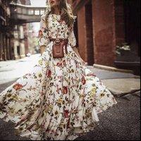 Vestidos de moda para mujeres para mujer Boho verano vestido largo Floral Maxi Party Tarde Beach Sundress Plus Tamaño Vestidos de Festa S