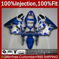 Stampo ad iniezione OEM per Kawasaki Blk Ninja ZZR600 600CC Blue Silvery Body 100% Fit 600 cc 05-08 Bodywork 38HC.128 ZZR 600 05 06 07 08 ZZR-600 2005 2006 2007 2008 Full Fairing