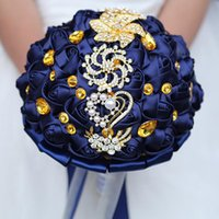Wedding Flowers DIY Gold Rhinestones Brooch Bouquets Artificial Blue Ribbons Roses Bridal Holding Bride Corsage Bouquet
