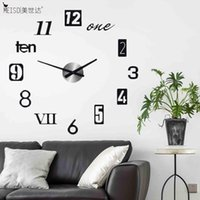 Wall Clocks 2021 Brief 3D DIY Large Clock Modern Design Home Decoration Acrylic Quartz Sticker Black Horloge Living Room