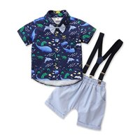 Kids Clothing Sets Boy Suit Boys Suits Children Clothes Summer Short Sleeve Gentleman Casual Animal Print Shirt Suspender Shorts Pants 2Pcs B6490