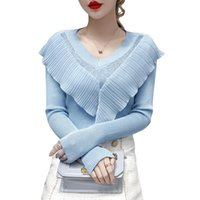 Women's Sweaters Thin Sweater Spring And Autumn Style V-neck Ruffled Rhinestone Fashion Long-sleeved Top