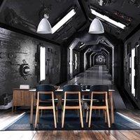 خلفيات مخصصة خلفيات 3d مجسمة النفق الفضاء المشارك جدارية الرجعية مطعم مقهى ktv غرفة المعيشة خلفية اللوحة للماء