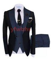 Handsome Groomsmen One Button Groom Tuxedos Notch Lapel Men Suits Wedding Prom Dinner Man Blazer (Jacket+Pants+Tie+Vest) w510