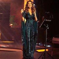 Stunning Green Paillettes Appliques Abiti da sera V Abiti a maniche lunghe Arabo Dubai Celebrity Gown Guaina Guaina Party Wear
