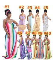 여름 여성 드레스 스카프 섹시한 sundress 스트라이프 맥시 스커트 스파게티 스트랩 해변 착용 캐주얼 민소매 치마 S-2XL 10colors 5081