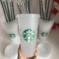DHL 50 шт. 24oz Tumblers Пластиковый питьевой сок с губной и соломой Magic Coffee Coke Custom Starbucks пластиковый прозрачный чашка