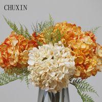 Decorative Flowers & Wreaths Artificial Silk Dried Burnt Edge Flower Hydrangea Branch Wedding Arrangement Home Decor Pography Props Fake