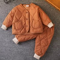 Kids Warm Clothes Cotton Padded Jacket for Children Winter Baby Boy Suit Girls Clothing Set Coat and Pants,#5701 210510