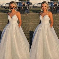 Simple Shiny Plus Size A Line Wedding Dresses Bridal Gowns Spaghetti V-Neck Sweep Train Country Style With Pockets Formal Dress