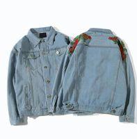 망 디자이너 재킷을위한 패션 데님 재킷 편지가있는 고품질 오토바이 코트 트렌드 겉옷 M-2XL 옵션