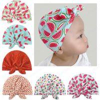 Fashion Fruit Print Bow Turban Hats Neonato Berretto Berretto Caps Ragazze Fotografia Puntelli Soft Bow-Knot Cappello Bambino Bambini Bogli di cotone Berrettolo Berretto