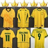 1998 Brasil Soccer Jerseys 2002 Retro Shirts Carlos Romario Ronaldo Ronaldinho 2004 Camisa de Futebol 1994 البرازيل 2006 1982 Rivaldo Adriano 1988 2000 1957
