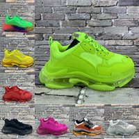 2021 Paris 17fw Triple S Clear Sole Sole Vert Blanc Crystal Fond Mens Femmes Femmes Sneakers Vintage Confort Sports Old Grand-père