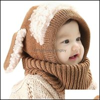 Bonés chapéus Aessórios baby, crianças maternidadebaby coelho orelhas infantil criança inverno tampão beanie quente cachecol earflap chapéu de malha drop Deliv