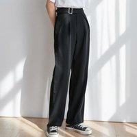 Pantalones para mujer Capris Limiguyue High Cintura Mujeres Pantalón Juego Negro Flojo Largo Pierna Cinturón Trabajo Pantalones Pantalón Femme Broeken Dames K116