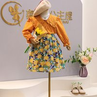 kids Clothing Sets girls Floral outfits Children shirt Tops+Flower print skirts 2pcs set Spring Autumn fashion Boutique baby Clothes Z4357