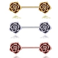 Stainless Steel Retro Electroplate Rose Nipple Rings Puncture Ornaments Women Body Jewelry 2 8ll T2