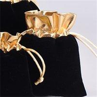 100 قطعة / الوحدة الأسود 7x9 سنتيمتر 9x12 سنتيمتر المخملية مطرز الرباط الحقائب مجوهرات هدية الحقيبة أكياس الرباط لحفل الزفاف، الخرز 1018 Q2