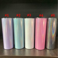 Sublimation 20oz Glitter Tumblers Stainless Steel Skinny Tumbler Rainbow Vacuum Insulated Beer Mugs with Straw Sea Shipping W45